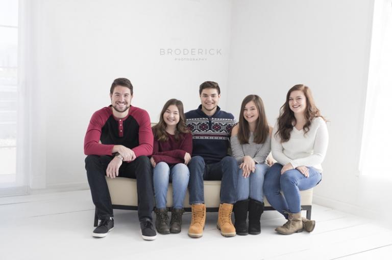 family posed in studio